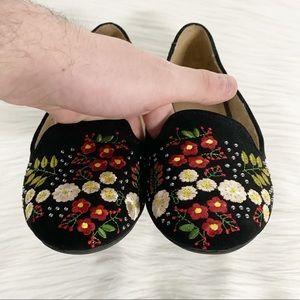 Topshop Shoes - Topshop | Black Floral Embroidered Flats